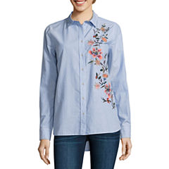 a.n.a Embroidered Button Front Shirt