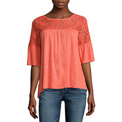 a.n.a Lace Trim Bell Sleeve Blouse