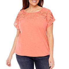 St. John's Bay Short Sleeve Round Neck T-Shirt-Plus