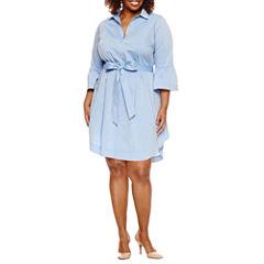 Worthington® Bell Sleeve Shirt Dress - Plus