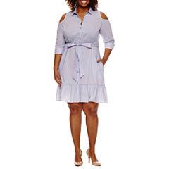 Worthington® 3/4 Sleeve Cold Shoulder Shirt Dress - Plus