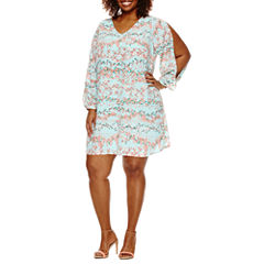 Worthington® Cold Shoulder V-Neck Shift Dress - Plus