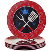 Certified International BBQ Bandit Set of 6 Melamine Dinner Plate