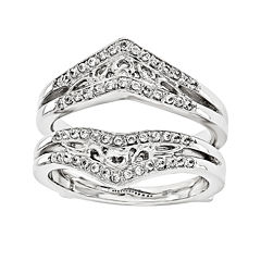 1/3 CT. T.W.  Round Diamond 14K White Gold Ring Guard