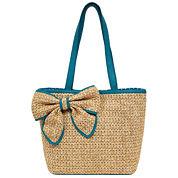 St. John's Bay Straw Bow Tote Bag