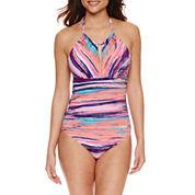 Liz Claiborne Stripe One Piece Swimsuit or Coverup