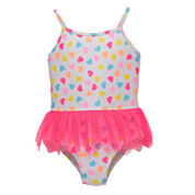 Candlesticks Heart Print Girls One Piece Swimsuit-Baby
