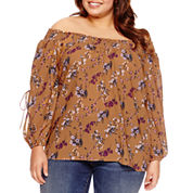 Boutique + Long Sleeve Floral Peasant Top Plus