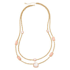Monet® Pink Stone Gold-Tone Station Necklace