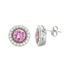 Lab-Created Pink Sapphire & White Sapphire Sterling Silver Stud Earrings