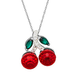 Crystal Sterling Silver Cherry Pendant Necklace