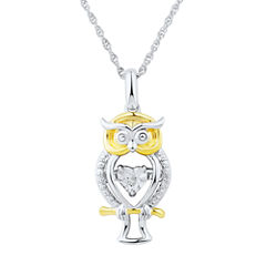 Love in Motion Diamond Accent Sterling Silver Owl Pendant Necklace