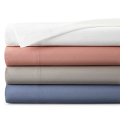 JCPenney Home™ 300tc Cotton Percale Solid Sheet Set