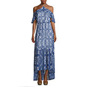 Belle + Sky Cold Shoulder Halter Maxi Dress