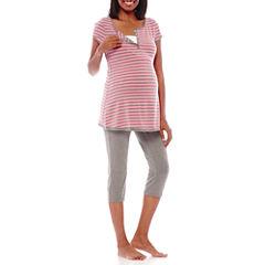 Spencer Maternity Short-Sleeve Nursing Top and Leggings Sleep Set
