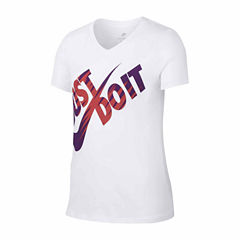 Nike Short Sleeve V Neck T-Shirt-Big Kid Girls