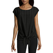 Worthington Short Sleeve Scoop Neck Crepe Blouse