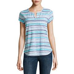 Liz Claiborne Short Sleeve Split Crew Neck T-Shirt