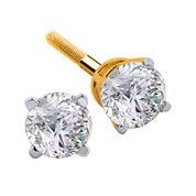 1/4 CT. T.W. Diamond 14K Yellow Round Stud Earrings