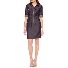 Sharagano 3/4 Sleeve Shirt Dress