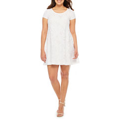 Studio 1 Short Sleeve Lace Shift Dress