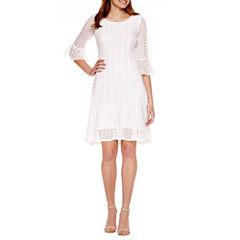 Rabbit Rabbit Rabbit Design 3/4 Sleeve Lace Fit & Flare Dress