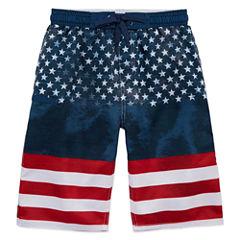 Burnside Boys American Flag Swim Trunks-Big Kid