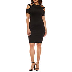 Bold Elements Elbow Sleeve Halter Bodycon Dress