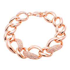 18K Rose Gold Over Brass Cubic Zirconia Link Bracelet