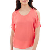 by&by Short-Sleeve Lattice-Back Cold-Shoulder Top