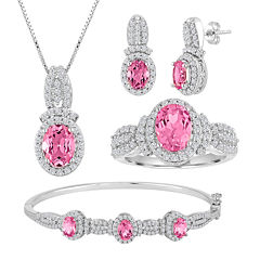 Lab-Created Pink Sapphire and Cubic Zirconia 4-pc. Boxed Jewelry Set