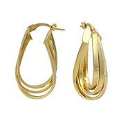 14K Yellow Gold 29mm Oval 3-Row Hoop Earrings