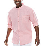 Steve Harvey Long-Sleeve Banded Collar Shirt - Big & Tall