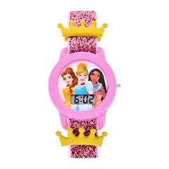 Disney Disney Princess Girls Pink Strap Watch-Pn3045jc