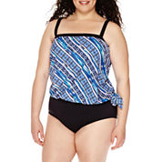 Azul By Maxine Of Hollywood® Stripe It Or Not Bandeau Blouson Tankini Swim Top or Hipster Swim Bottoms - Plus