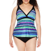 Jamaica Bay® Striped Framed V-Neck Tankini Swim Top or Swim Bottoms - Plus