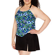 Delta Burke® Santorini High-Neck Loose Tankini Swim Top or Slit Skirted Swim Bottoms - Plus