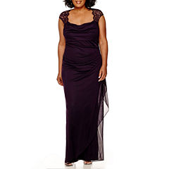Scarlett Sleeveless Faux-Wrap Lace Trim Gown - Plus