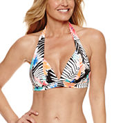 Pure Paradise Bra Sized Floral Halter Swimsuit Top