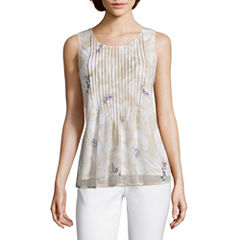 Liz Claiborne Sleeveless Crew Neck Knit Blouse