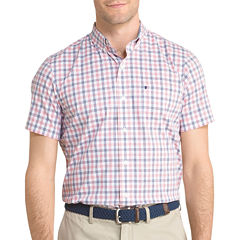 IZOD Advantage Stretch Short Sleeve Print Button-Front Shirt