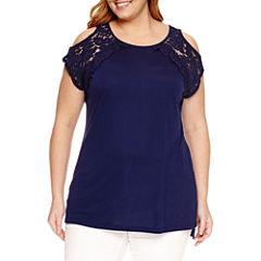 St. John's Bay Scoop Neck T-Shirt-Plus
