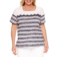 Alfred Dunner Seas The Day Short Sleeve Square Neck T-Shirt-Womens Plus