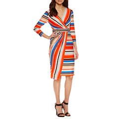 Weslee Rose 3/4 Sleeve Wrap Dress