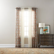 JCPenney Home Batiste Paisley & Solid Sheer Grommet-Top Curtain Panels