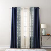 JCPenney Home Quinn, Batiste Paisley, & Batiste Solid Sheer Grommet-Top Curtain Panels