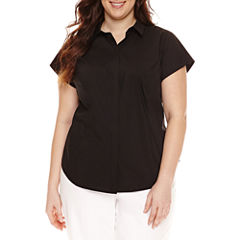 Worthington® Short Sleeve Button Front Shirt - Plus
