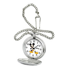 Disney Mens Mickey Mouse Silver-Tone Pocket Watch