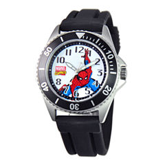 Disney Honor Mens Spiderman Black Silicone Strap Watch