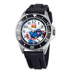 Marvel Honor Mens Captain America Black Rubber Strap Watch